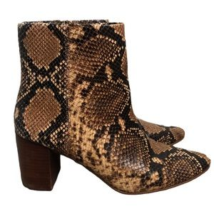 Madewell Snake Print Heeled Ankle Boots